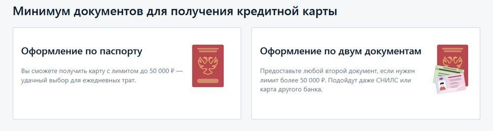 Минимальный пакет документов для оформления кредитки «100 дней без процентов»
